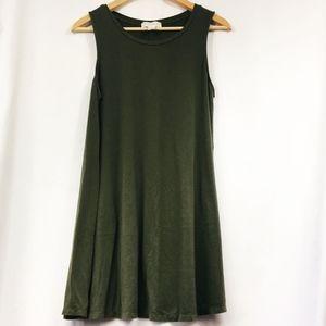 Forever 21 Scoop Neck Olive Green T-Shirt Dress